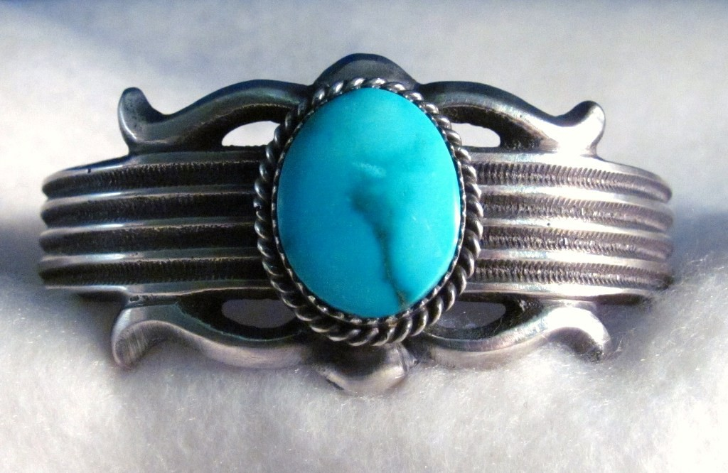 BNA0017 - Native American Turquoise Cuff in Cast Sterling Silver (SOLD)