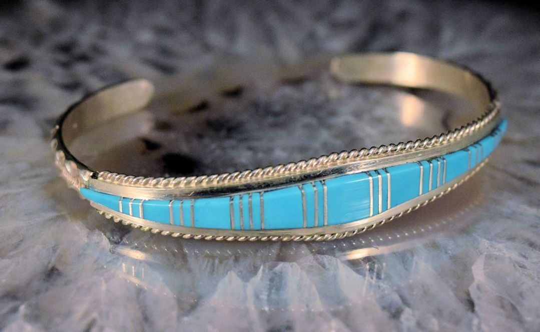 bna0031 Turquoise Inlay Bracelet (sold)