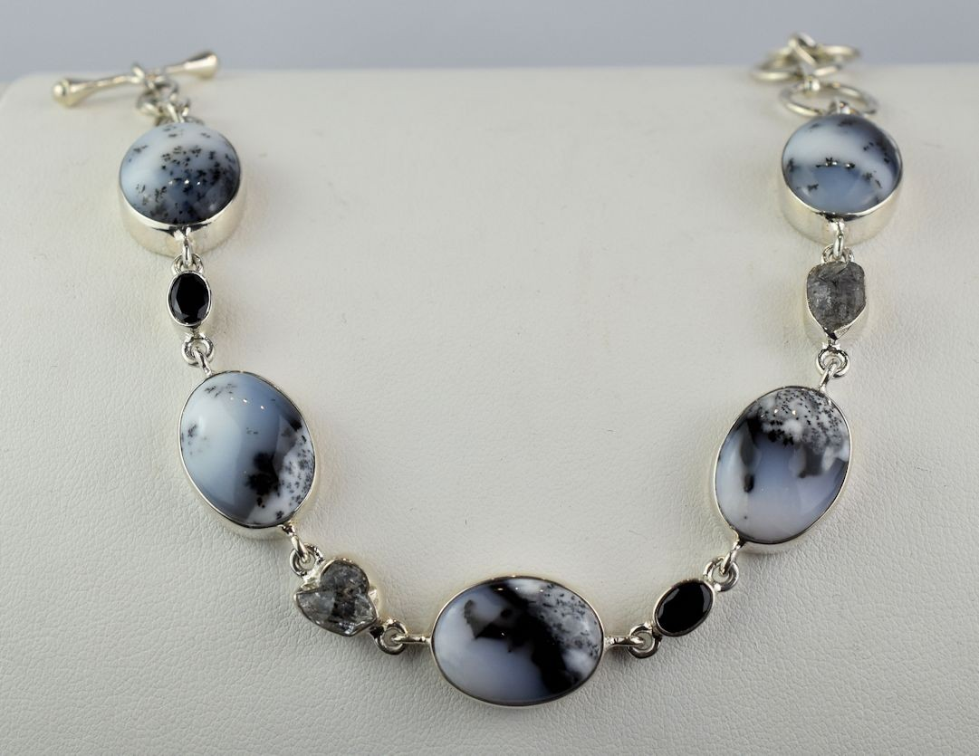 BS0122 Dendritic Agate Bracelet with Black Spinel and Herkimer 'Diamond'