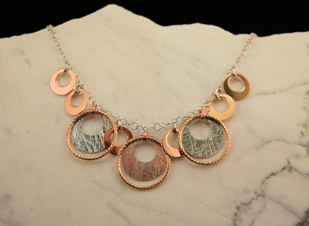 Ns0088 Sterling Silver and Rose Gold Plated Necklace