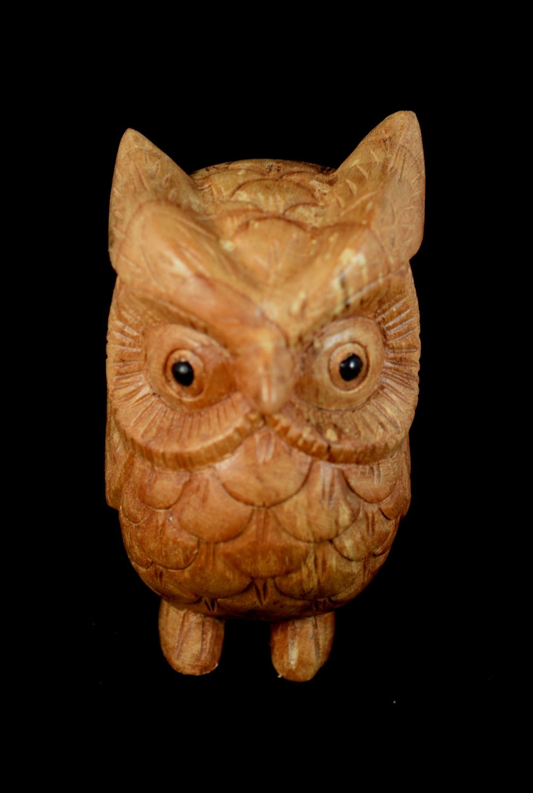What on earth hd hand carved owl in chinaberry wood