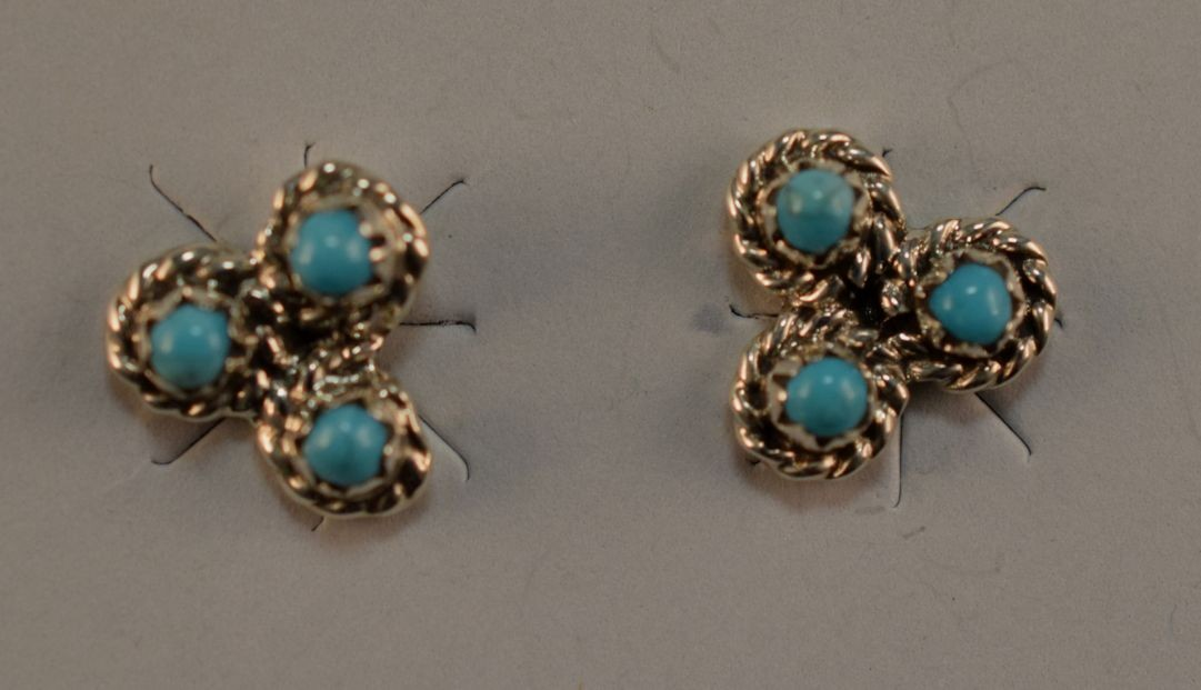 Ena0034  Turquoise 3 Stone Post Earrings (SOLD)