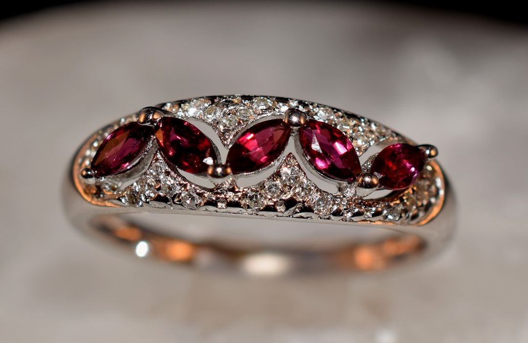 Rs0161 Ruby and Diamond Ring in Sterling Silver