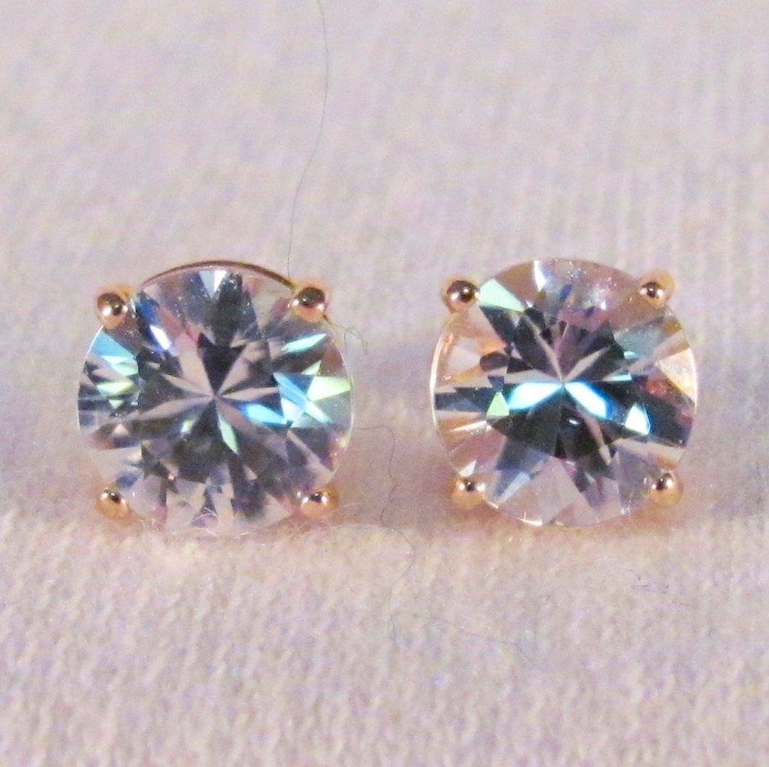 EG0017 - White Zircon and Yellow Gold Post Earrings (SOLD)