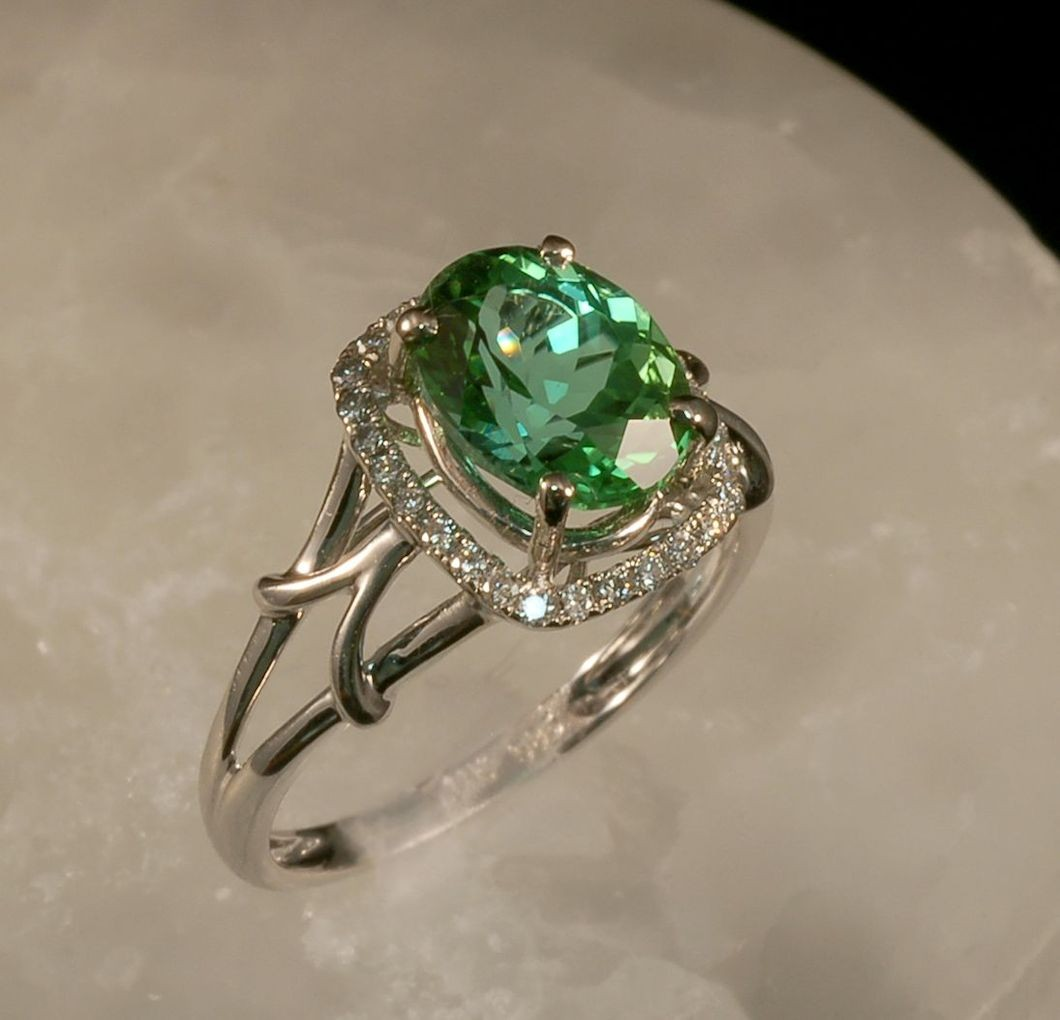 Sea Green Tourmaline Ring in 14K White Gold with Diamonds RG0049 (SOLD)