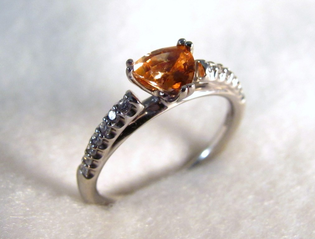 RG0029 - Orange Sapphire and Diamond Ring in White Gold