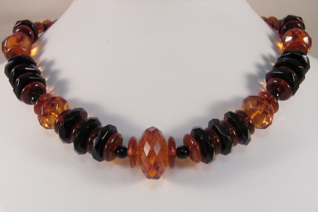 NS0078 - Tri-color Amber Beaded Necklace