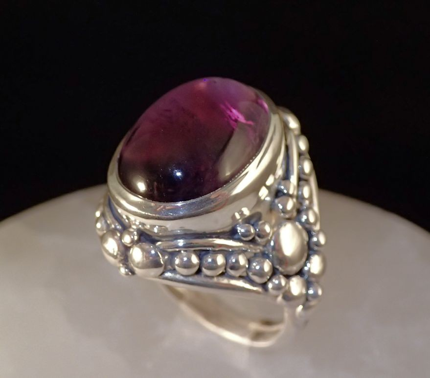 RS0140 Sterling silver amethyst cabochon ring (SOLD)