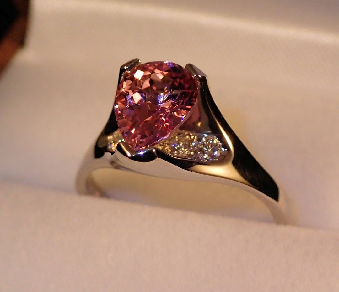 Rg0055 Pink Spinel And Diamond Ring (SOLD)