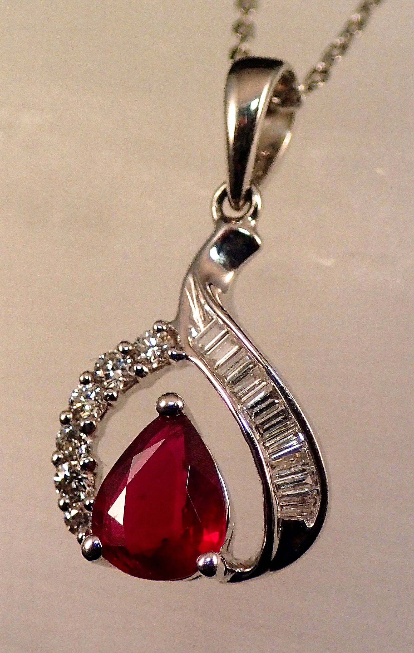 PdG0073 Ruby And Diamond Pendant In 14k White Gold