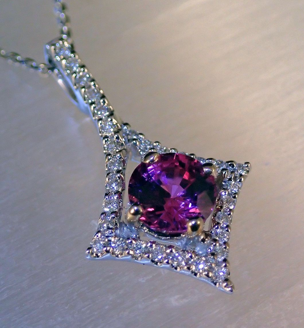 PdG0061 - Pink Sapphire and Diamond Pendant in 18 K White Gold (SOLD)