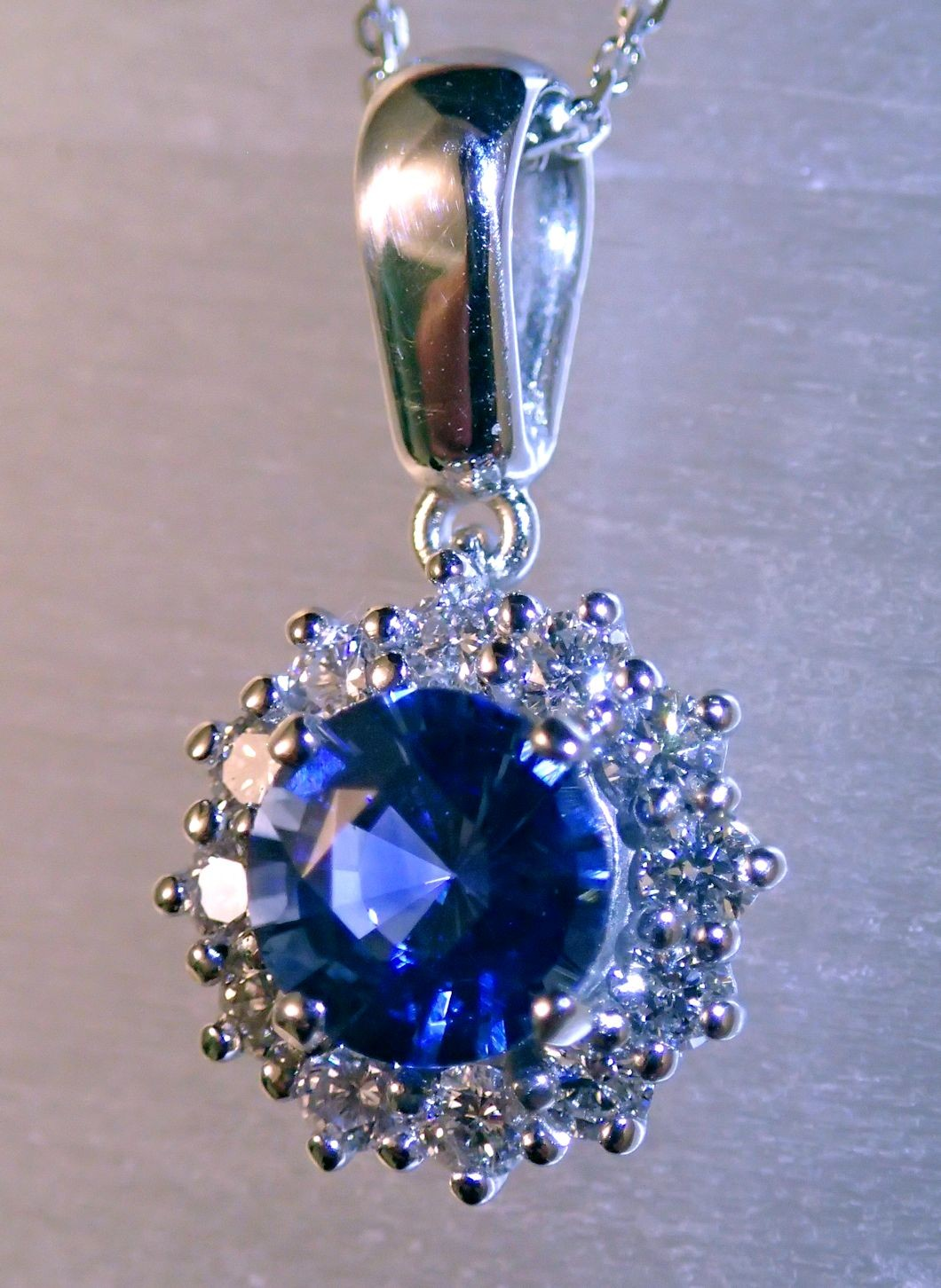 PdG0062 - Blue Sapphire and Diamond Accent Pendant in 14 K White Gold (SOLD)