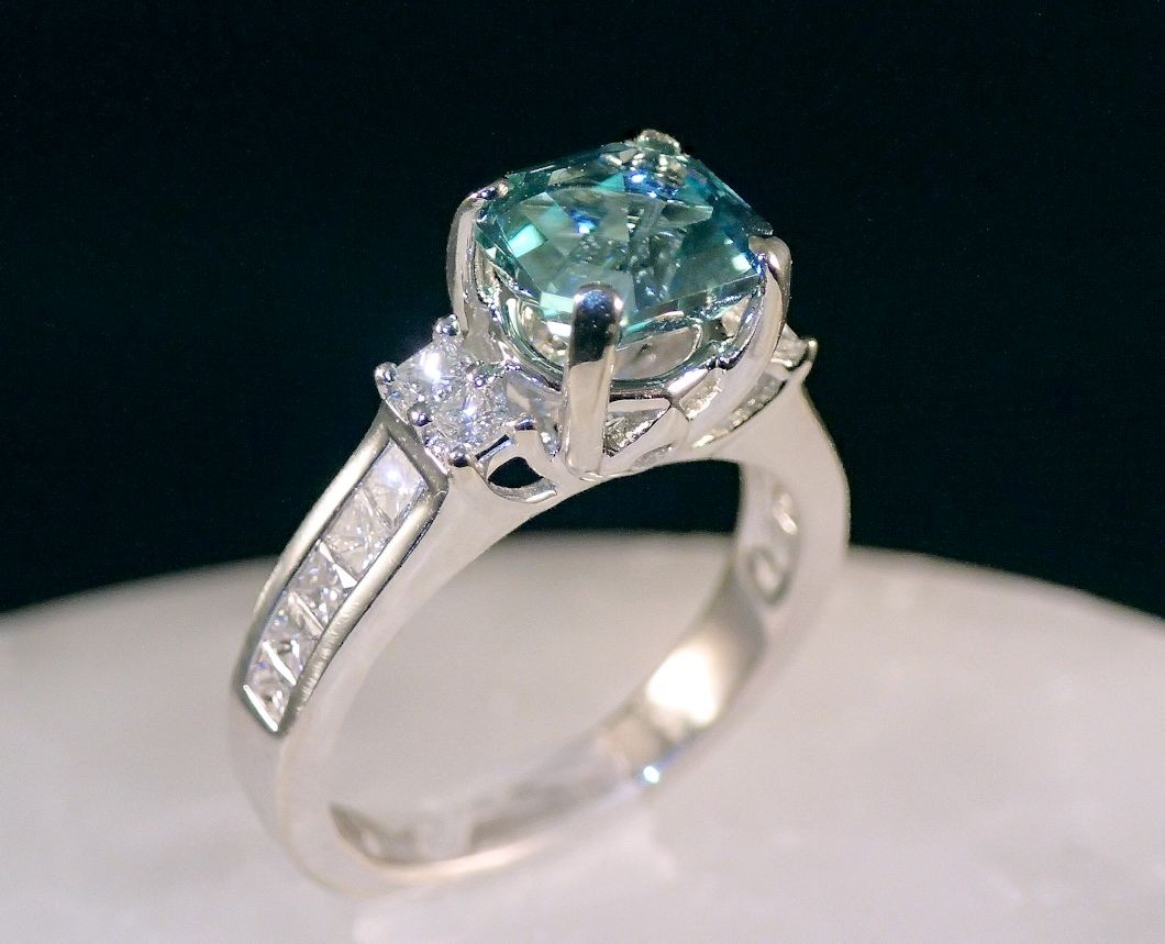 RG0043 Blue-green tourmaline and diamond ring in 18K white gold