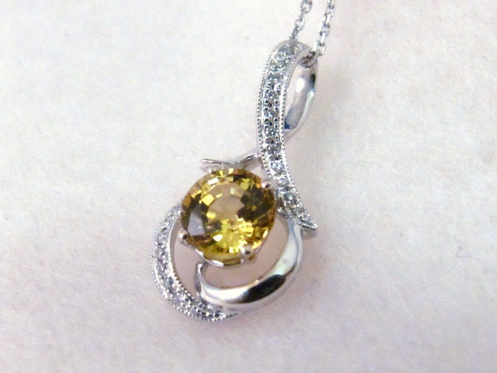 PdG0052 - Yellow Sapphire Pendant with Diamond Accents in White Gold (SOLD)