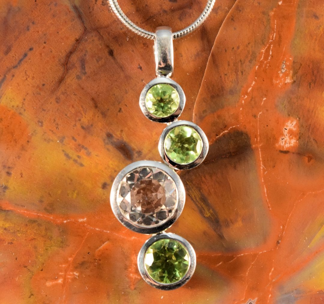 PdS0486 - Peridot and Quartz Pendant in Sterling Silver