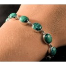BS0116 - Malachite Bracelet in Sterling Silver