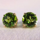 EG0016 - Peridot and Yellow Gold Post Earrings