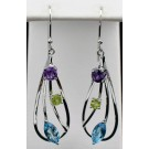 Es 0282 Amethyst, Peridot and Blue Topaz Earrings