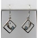Es 2083 Blue Topaz Earrings in Sterling Silver