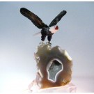 HD0102 - Peter Muller Bald Eagle Carving on Agate Geode (SOLD)