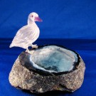 HD0200 Quartz and Amethyst Duck on Quartz Geode by Peter Mueller (SOLD)