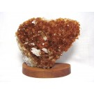 M0015 - Citrine with Calcite on Wood Base
