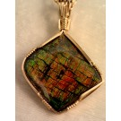 PdG0067 14K Gold Fill Wirewrapped Ammolite Pendant (SOLD)