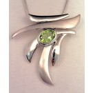 PdS0413 Brushed and Polished Sterling Silver and Periodt Pendant (SOLD)