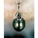 PdG0068 14 mm Tahitian Pearl Pendant in 14K White Gold with Diamonds (SOLD)