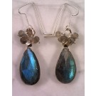 ES0241 - Labradorite, pyrite, and sterling silver earrings