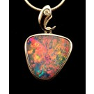PdS0451 Australian opal doublet pendant in sterling silver with diamond accent (SOLD)