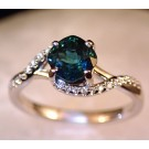 Rg0056 Teal Green Tourmaline and Diamond Ring in 14K White Gold