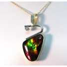 PdG0028 - Two-Tone Gold Ammolite and Diamond Pendant (SOLD)