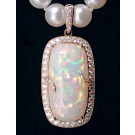 PDG0060 Precious Ethiopian Opal in 14K Rose Gold with Diamonds Pendant/Pearl Enhancer (SOLD)