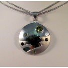 PdS0441 -  Sterling Silver Disc Pendant with Peridot and Smoky Quartz