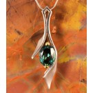 PdS0489 - Green Quartz Pendant in Sterling Silver with Yellow Gold Filled Prongs
