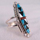 RNA0028 - Elongated Sterling Silver Inlay Ring