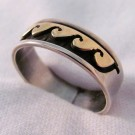 RNA0033 - Sterling Silver and Yellow Gold Wave Ring
