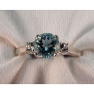 RS0148 - Aquamarine and White Sapphire Ring in Sterling Silver