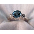 RS0149 - Aquamarine and White Sapphire Ring in Sterling Silver (SOLD)